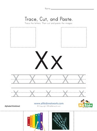 Preschool Letter X Worksheets Trace Cut and Paste Letter X Worksheet