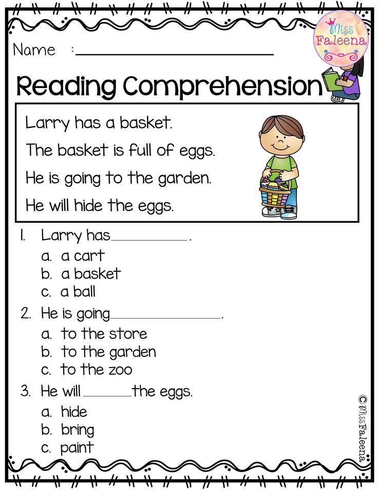 Preschool Reading Comprehension Worksheets April Reading Prehension Dengan Gambar