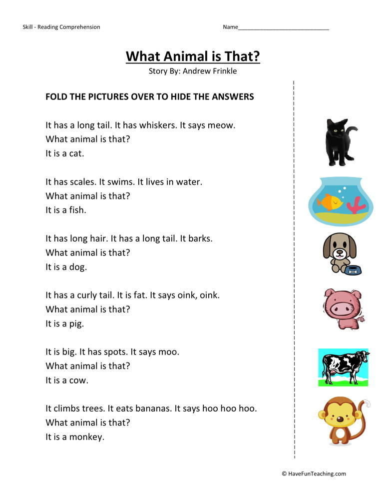 Preschool Reading Comprehension Worksheets Reading Prehension Worksheet What Animal is that