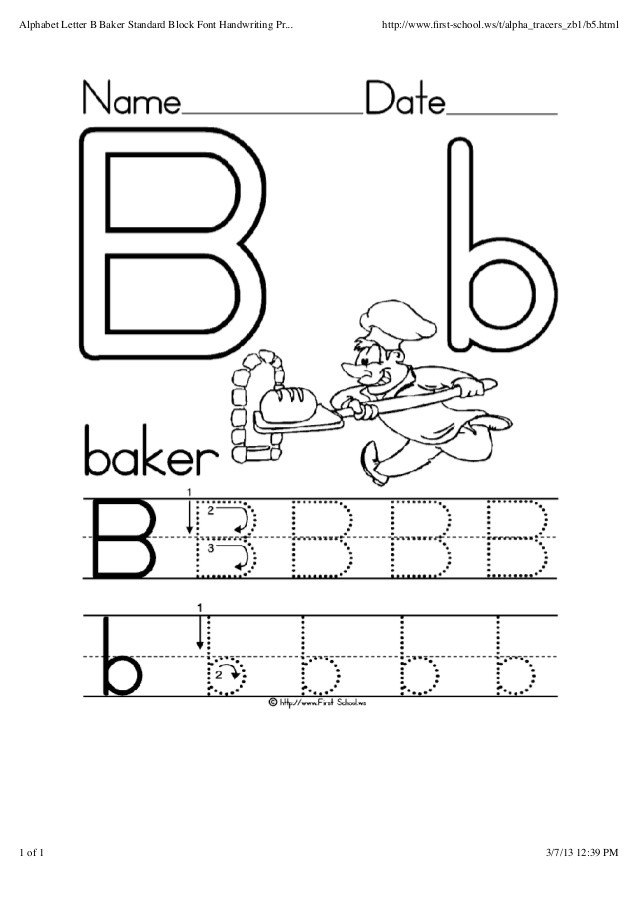 Preschool Worksheets Letter B Alphabet Letter B Baker Standard Block Font Handwriting