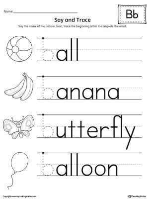 Preschool Worksheets Letter B Say and Trace Letter B Beginning sound Words Worksheet