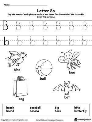 Preschool Worksheets Letter B Words Starting with Letter B