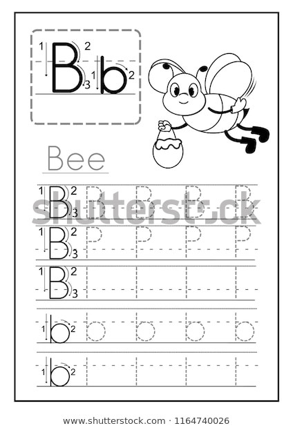 Preschool Worksheets Letter B Writing Practice Letter B Printable Worksheet เวกเตอร์สต็อก