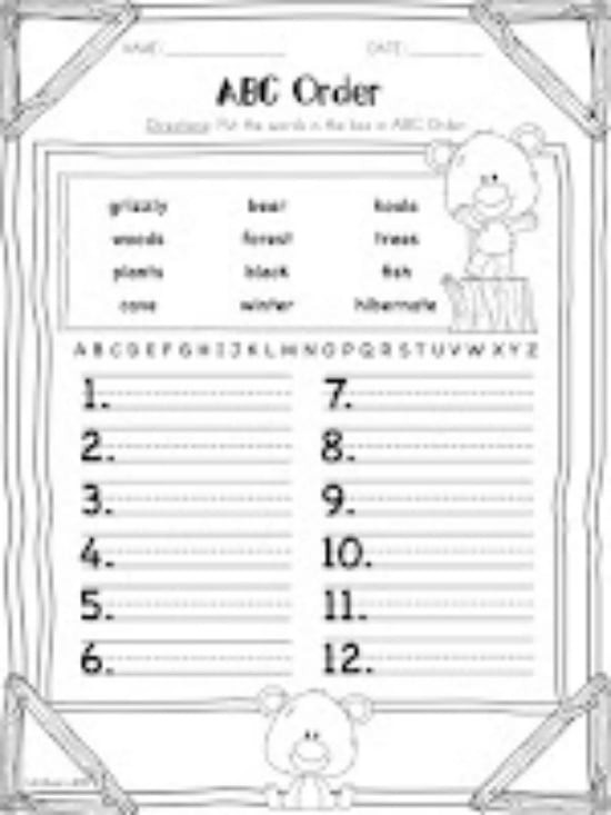 Printable Abc order Worksheets Abc order Worksheets Kindergarten & Alphabetical order