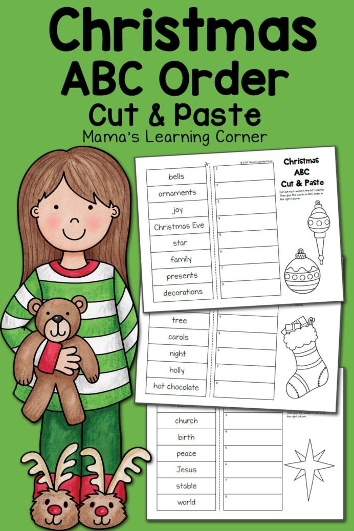 Printable Abc order Worksheets Christmas order Worksheets Cut and Paste Mamas Learning
