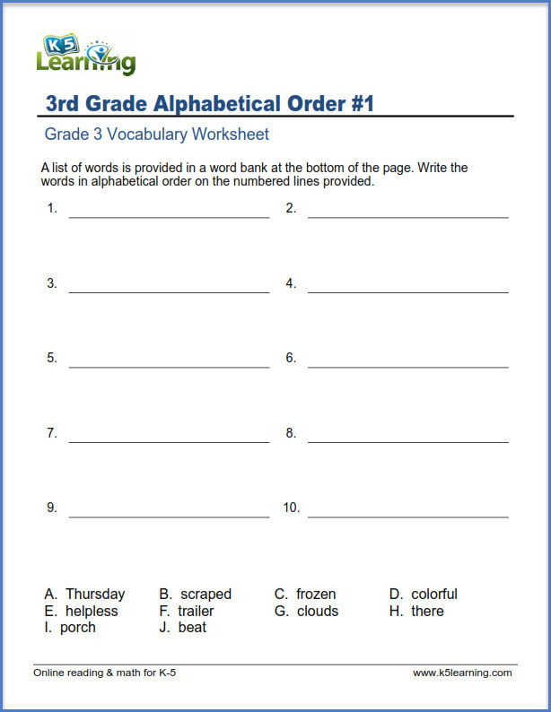 Printable Abc order Worksheets Grade 3 Vocabulary Worksheets – Printable and organized by