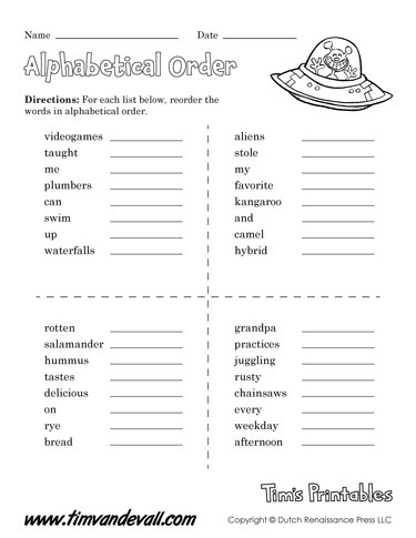 Printable Abc order Worksheets Printable Alphabetical order Worksheets Language Arts Pdf