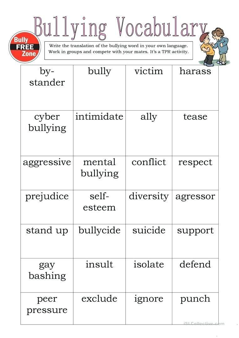 Printable Bullying Worksheets Bully Worksheets Bullying Vocabulary Full Screen Prevention