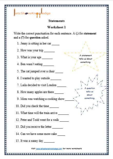 Printable Bullying Worksheets Grade 1 Grammar Statements Printable Worksheets Lets