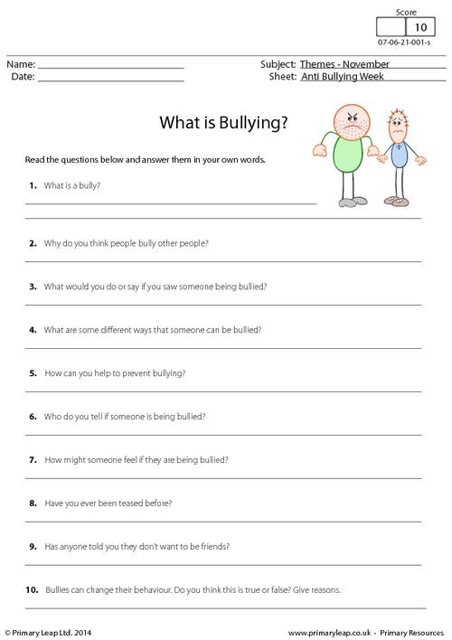 Printable Bullying Worksheets Holidays and Months Anti Bullying Week Making Inferences