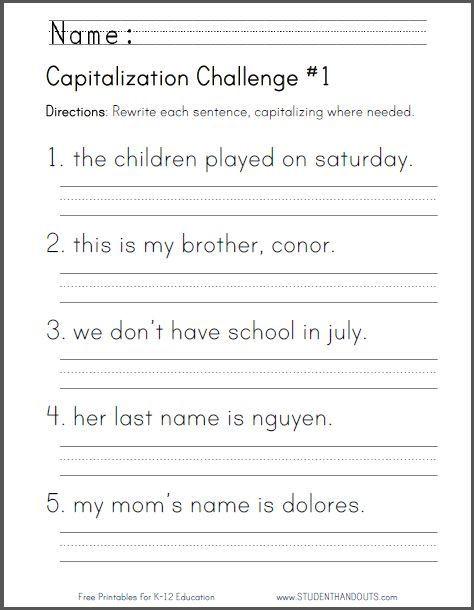Printable Capitalization Worksheets Free Printable Capitalization Challenge Worksheet