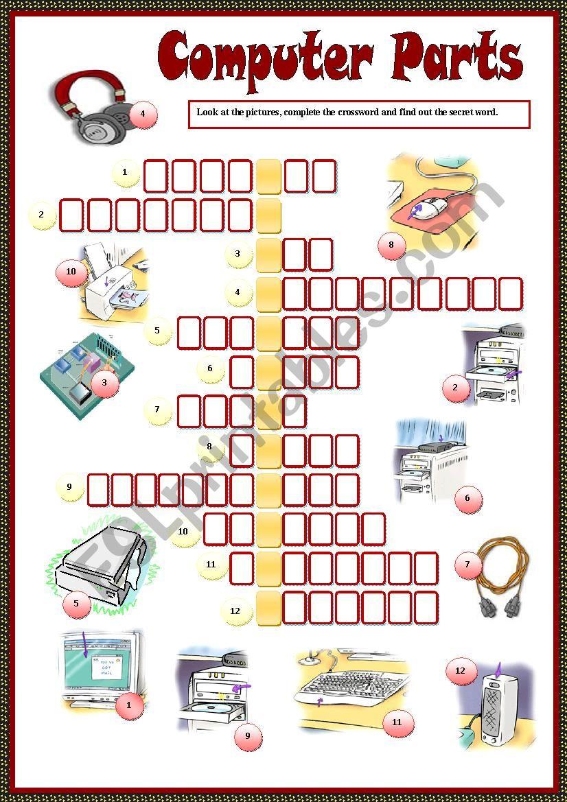Printable Computer Worksheets Parts Of Puter Crossword Esl Worksheet by Nithyagopal