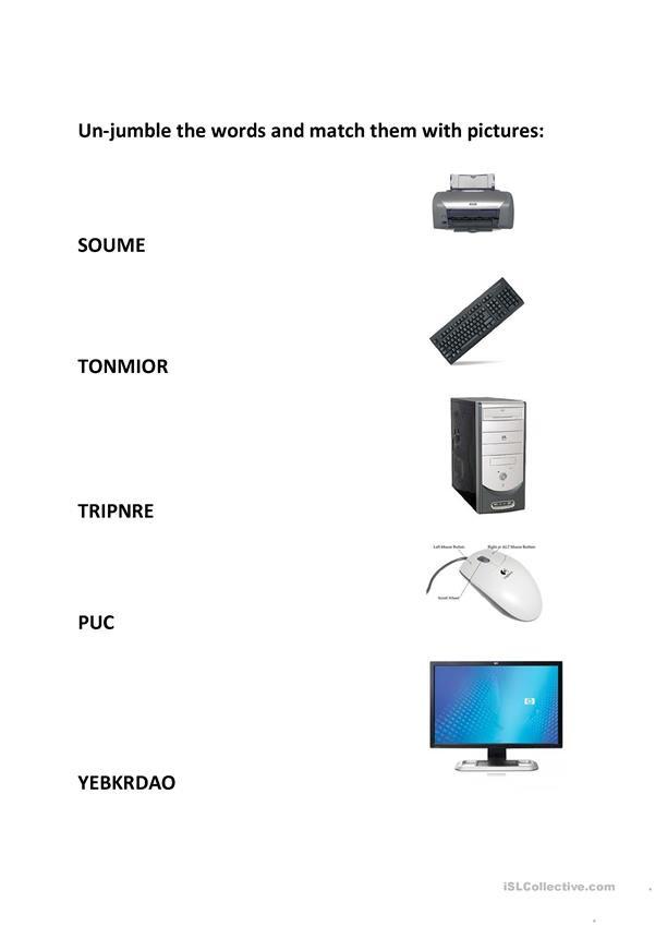 Printable Computer Worksheets Parts Puter English Esl Worksheets for Distance