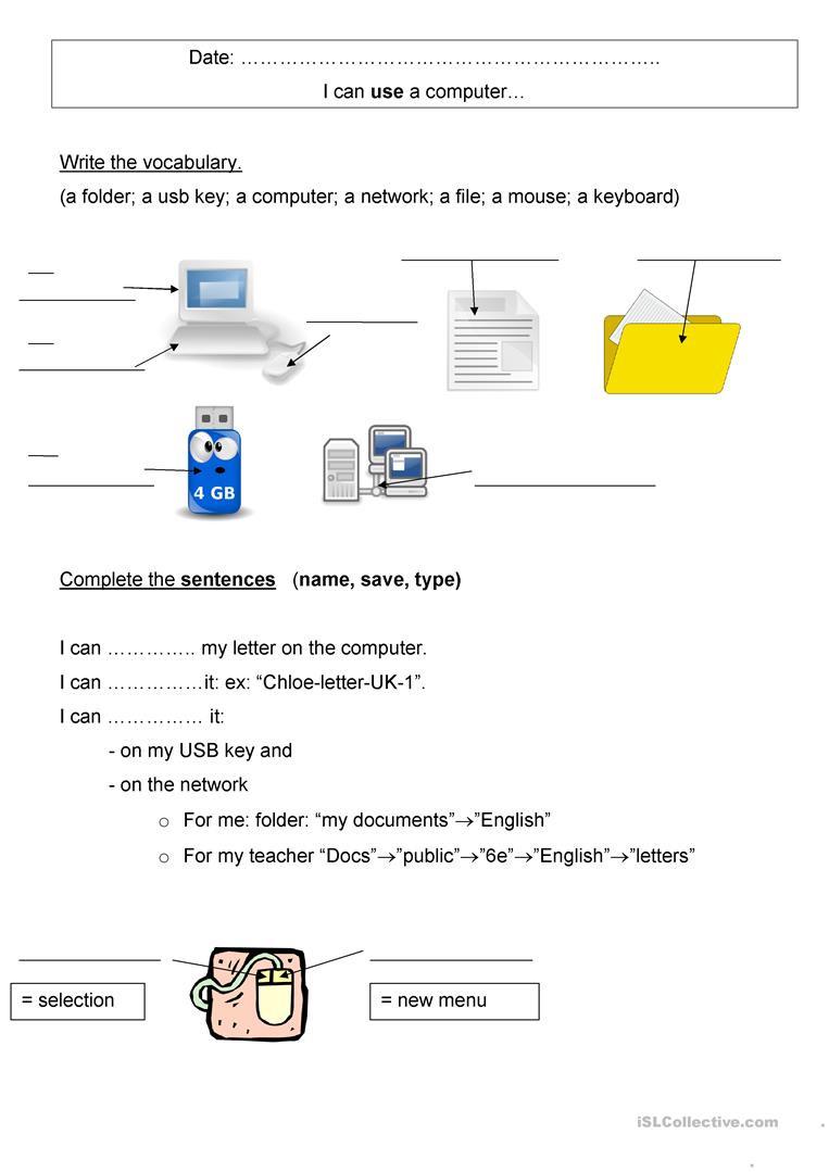 Printable Computer Worksheets Puter Vocabulary English Esl Worksheets for Distance