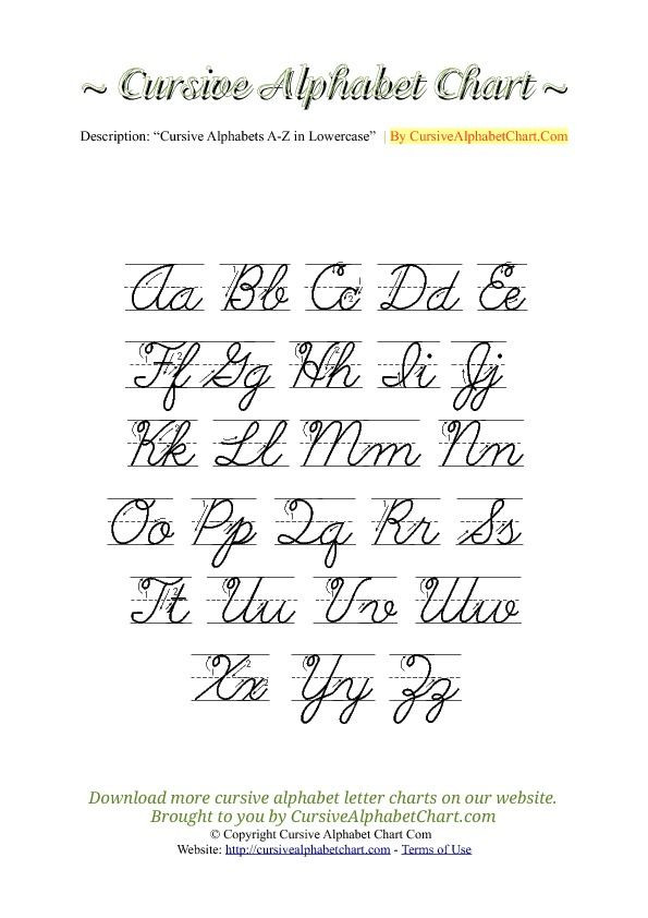 Printable Cursive Alphabet Chart Cursive Alphabet Worksheets Pdf or Cursive Writing Paper