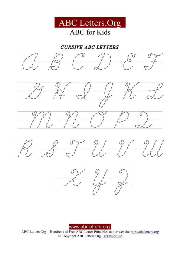 Printable Cursive Alphabet Chart Printable Cursive Letter Tracing Chart Uppercase