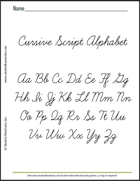 Printable Cursive Alphabet Chart Worksheet Printable Cursive Alphabet This is Sample Sheet