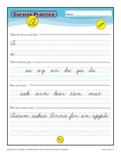 Printable Cursive Writing Worksheets Cursive Letters A Z Free Printable Worksheets K12reader