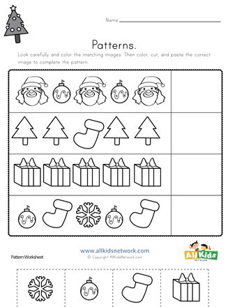 Printable Cut and Paste Worksheets Christmas Cut and Paste Patterns Worksheet