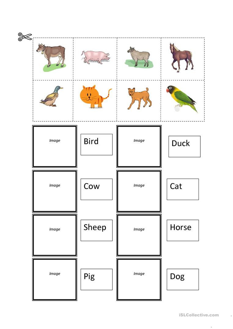 Printable Cut and Paste Worksheets Farm Animals Cut and Paste English Esl Worksheets for