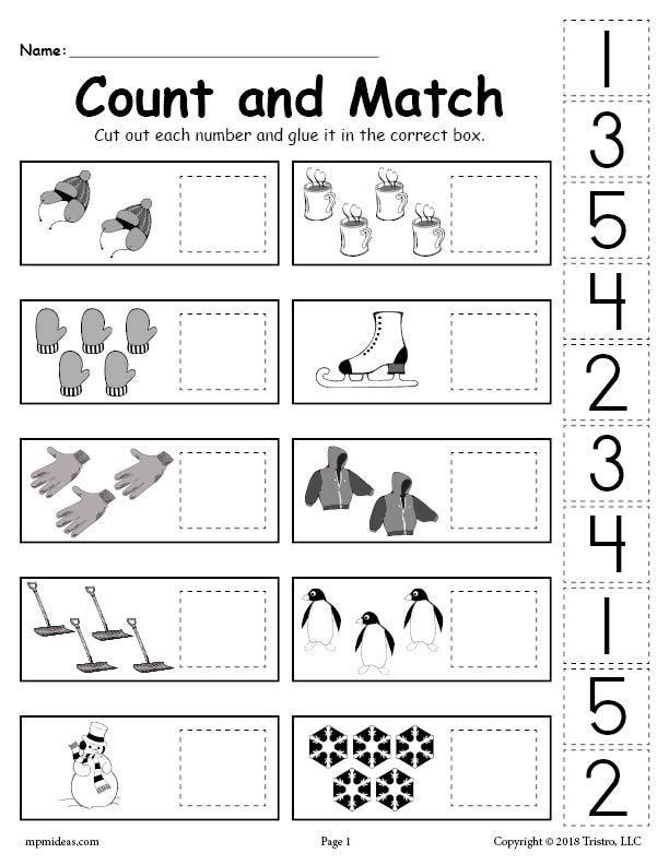 Printable Cut and Paste Worksheets Printable Winter Counting and Matching Cut and Paste Worksheet