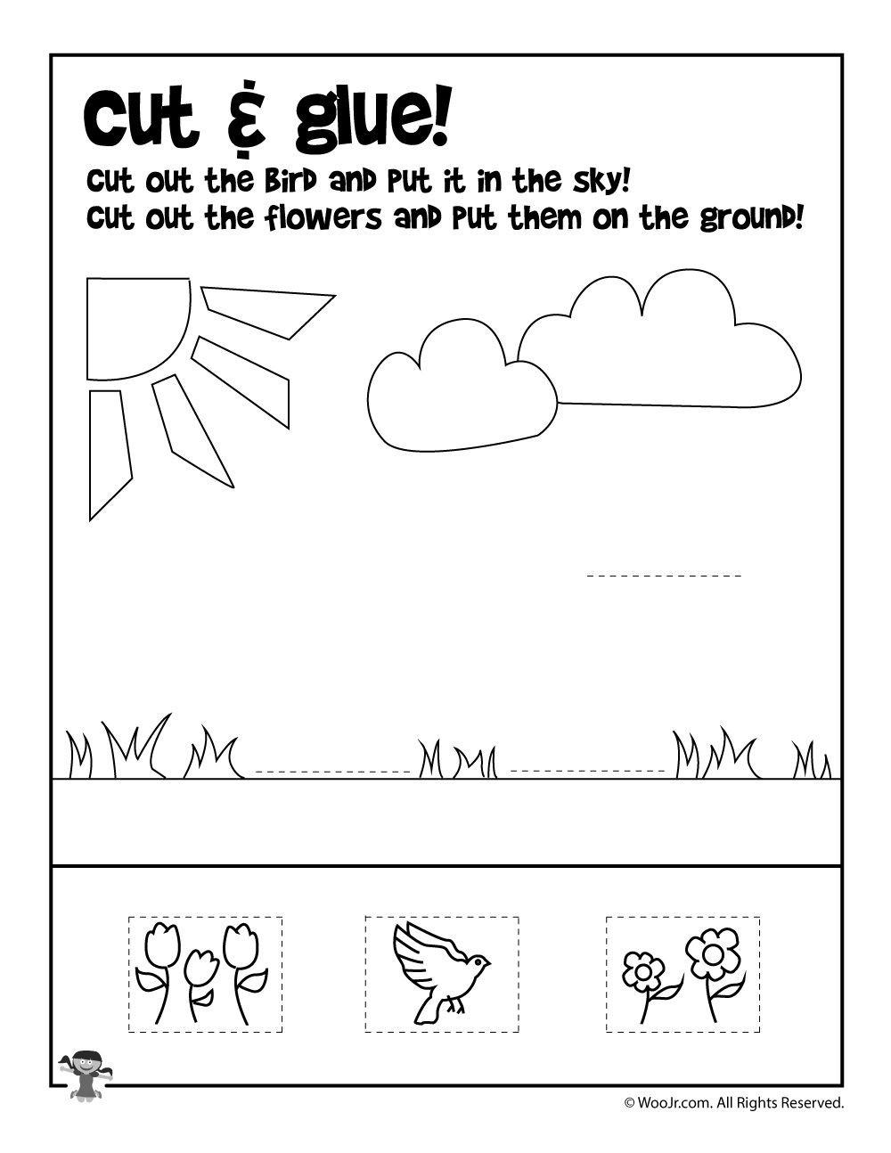 Printable Cut and Paste Worksheets Summer Preschool Worksheets