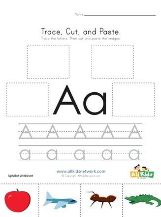 Printable Cut and Paste Worksheets Trace Cut and Paste Letter A Worksheet