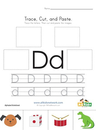 Printable Cut and Paste Worksheets Trace Cut and Paste Letter D Worksheet