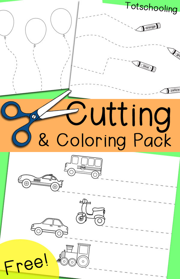 Printable Cutting Worksheets for Preschoolers Free Cutting & Coloring Pack