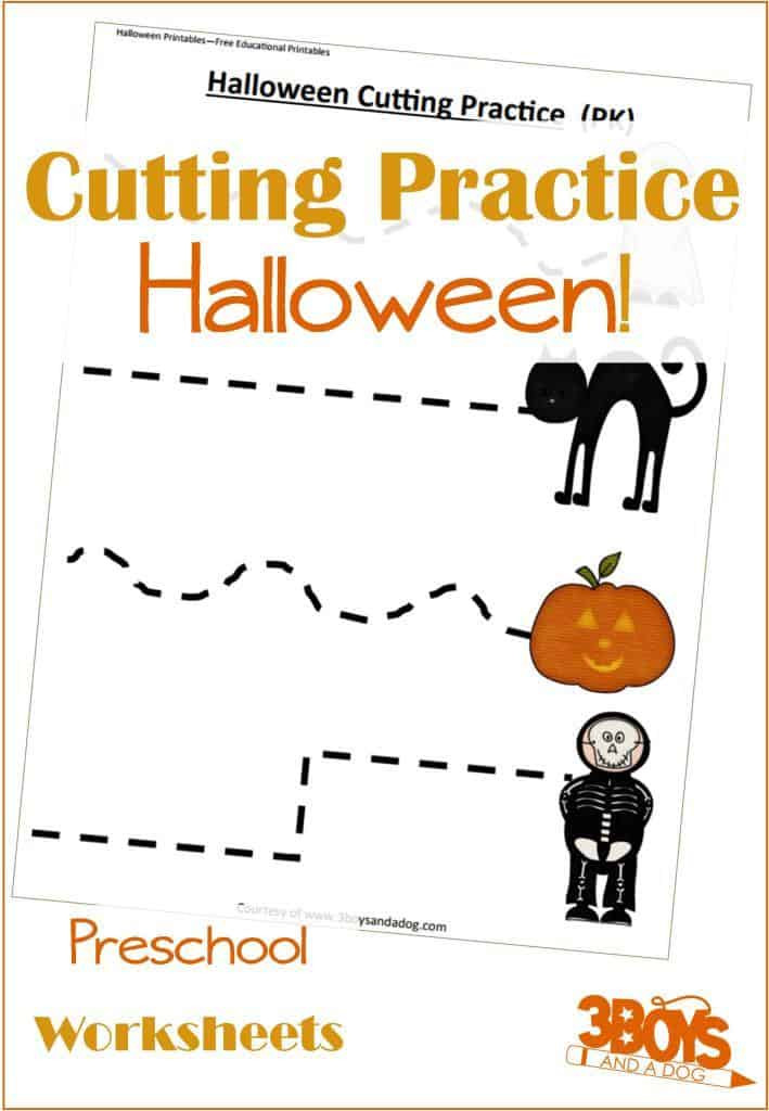 Printable Cutting Worksheets for Preschoolers Halloween Cutting Activities