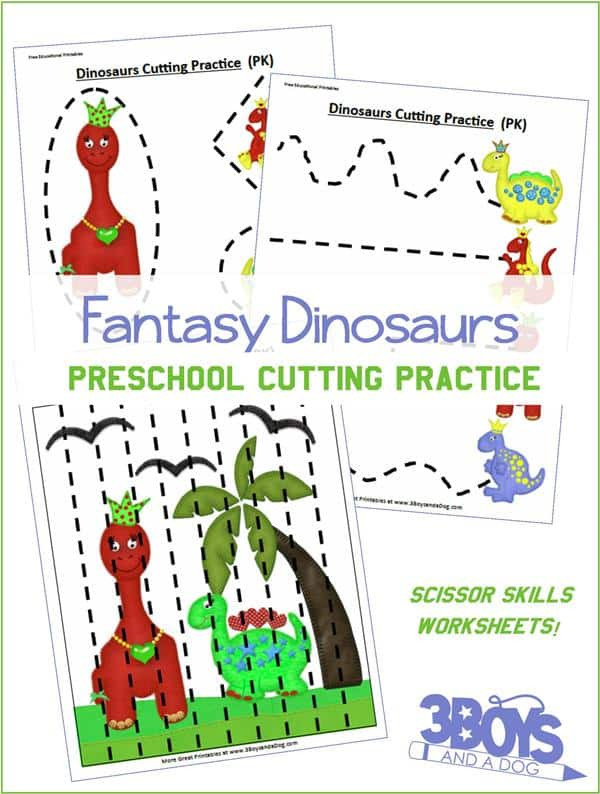 Printable Cutting Worksheets for Preschoolers Preschool Cutting Practice Dinosaurs Worksheets – 3 Boys