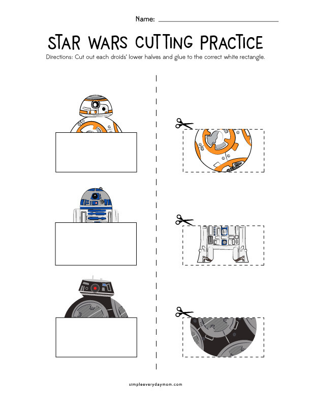 Printable Cutting Worksheets for Preschoolers Star Wars Cutting Practice Worksheets for Early Learners