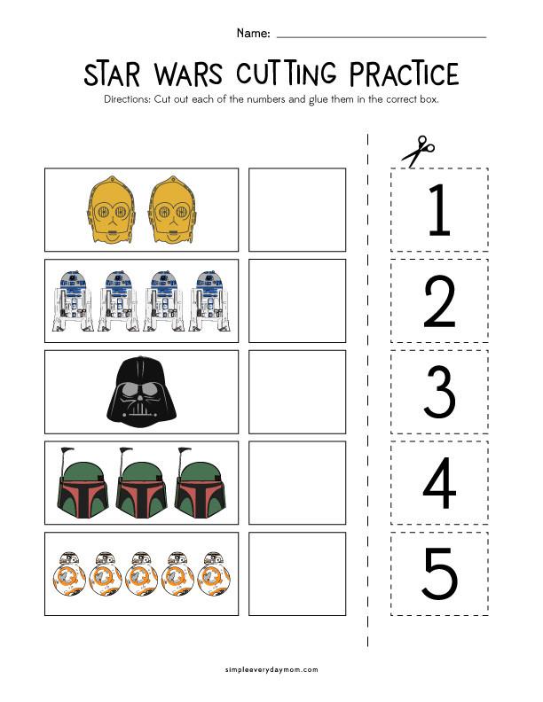 Printable Cutting Worksheets for Preschoolers Star Wars Cutting Practice Worksheets for Early Learners
