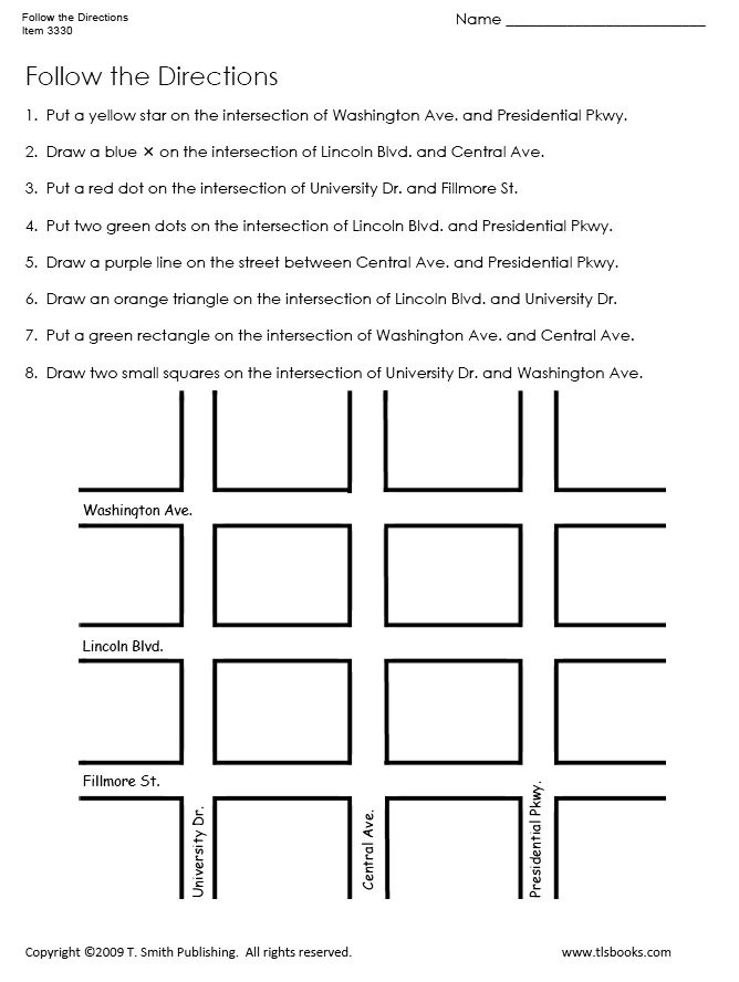 Printable Following Directions Worksheet Follow the Directions Map Grid Worksheet 1