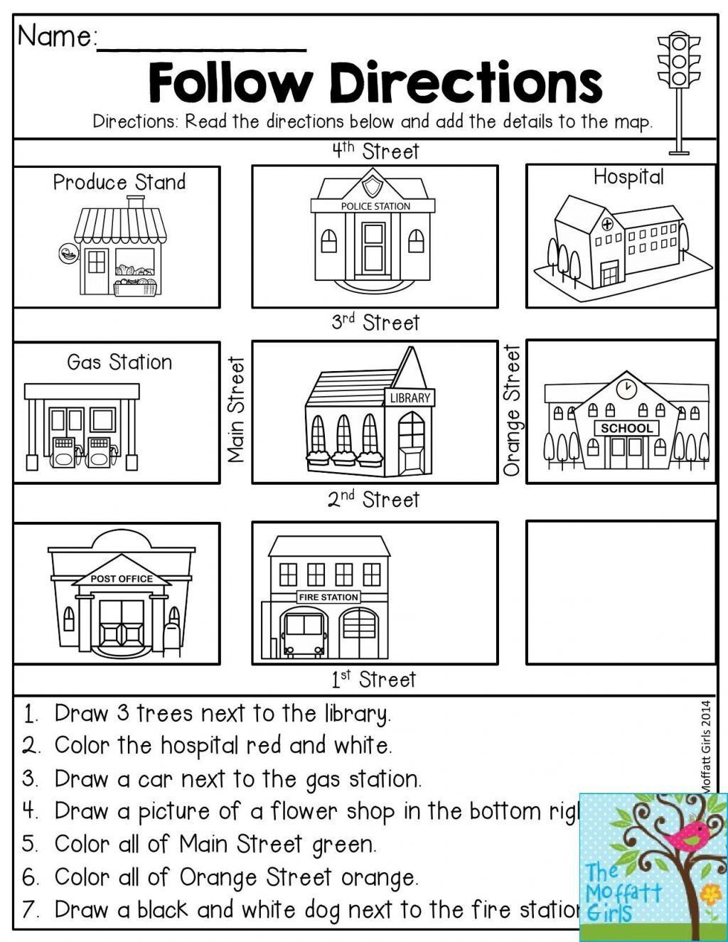 Printable Following Directions Worksheet Thunwarai Sa Ngasri Thunwarais ใน Pinterest