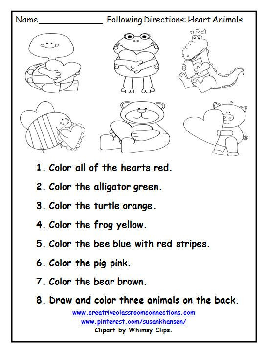 Printable Following Directions Worksheets This Free Printable is A Great February Activity for