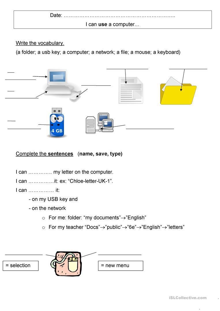 Printable Keyboarding Worksheets Puter Vocabulary