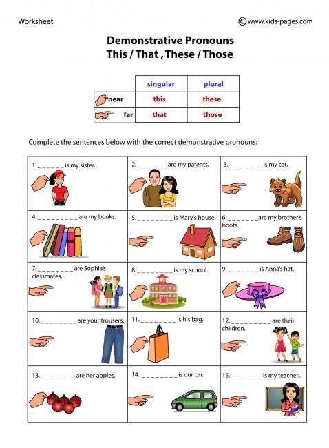 Printable Pronouns Worksheets Demonstrative Pronouns Worksheet