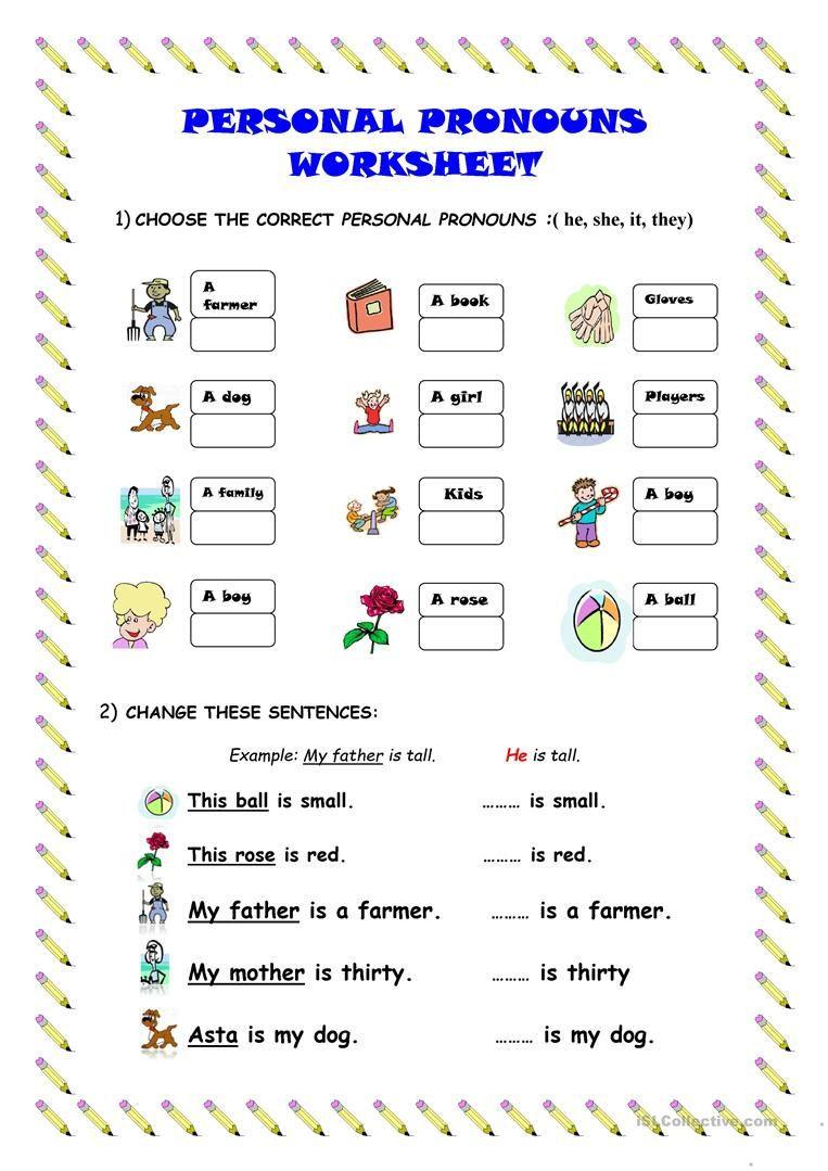 Printable Pronouns Worksheets Personal Pronouns Worksheet