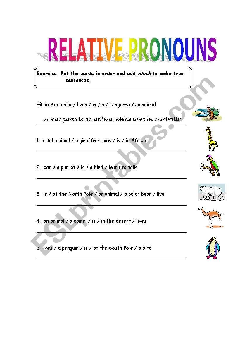 Printable Pronouns Worksheets Relative Pronouns Esl Worksheet by Samantaesl