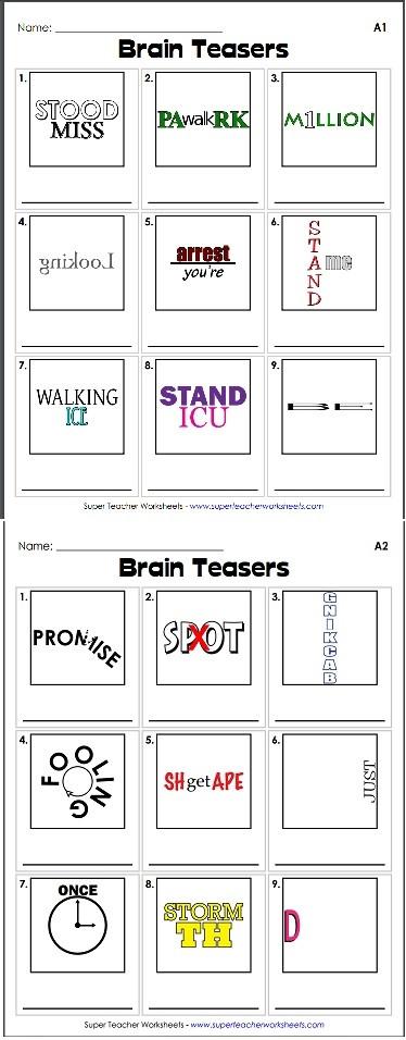 Printable Rebus Brain Teasers Brain Teaser Rebus Puzzles