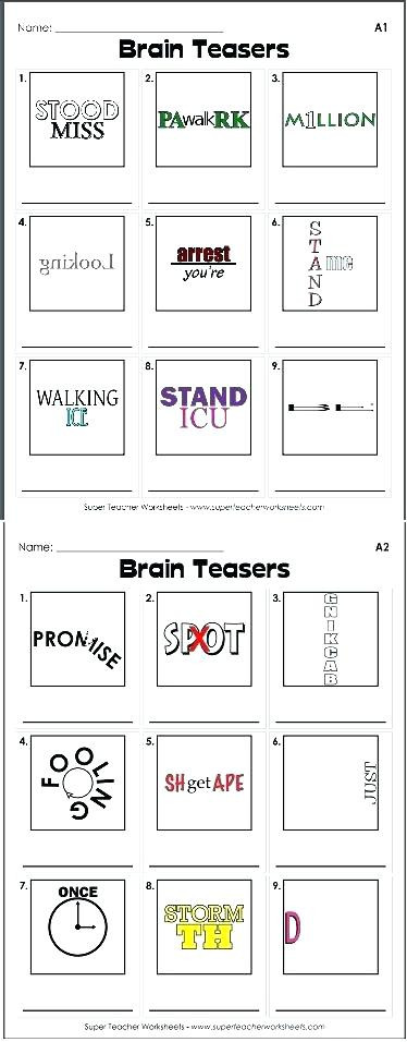 Printable Rebus Puzzles for Kids Brain Teasers Worksheet Brainteaser Worksheet Brain Teacher