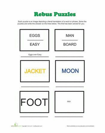 Printable Rebus Puzzles for Kids Rebus Puzzles