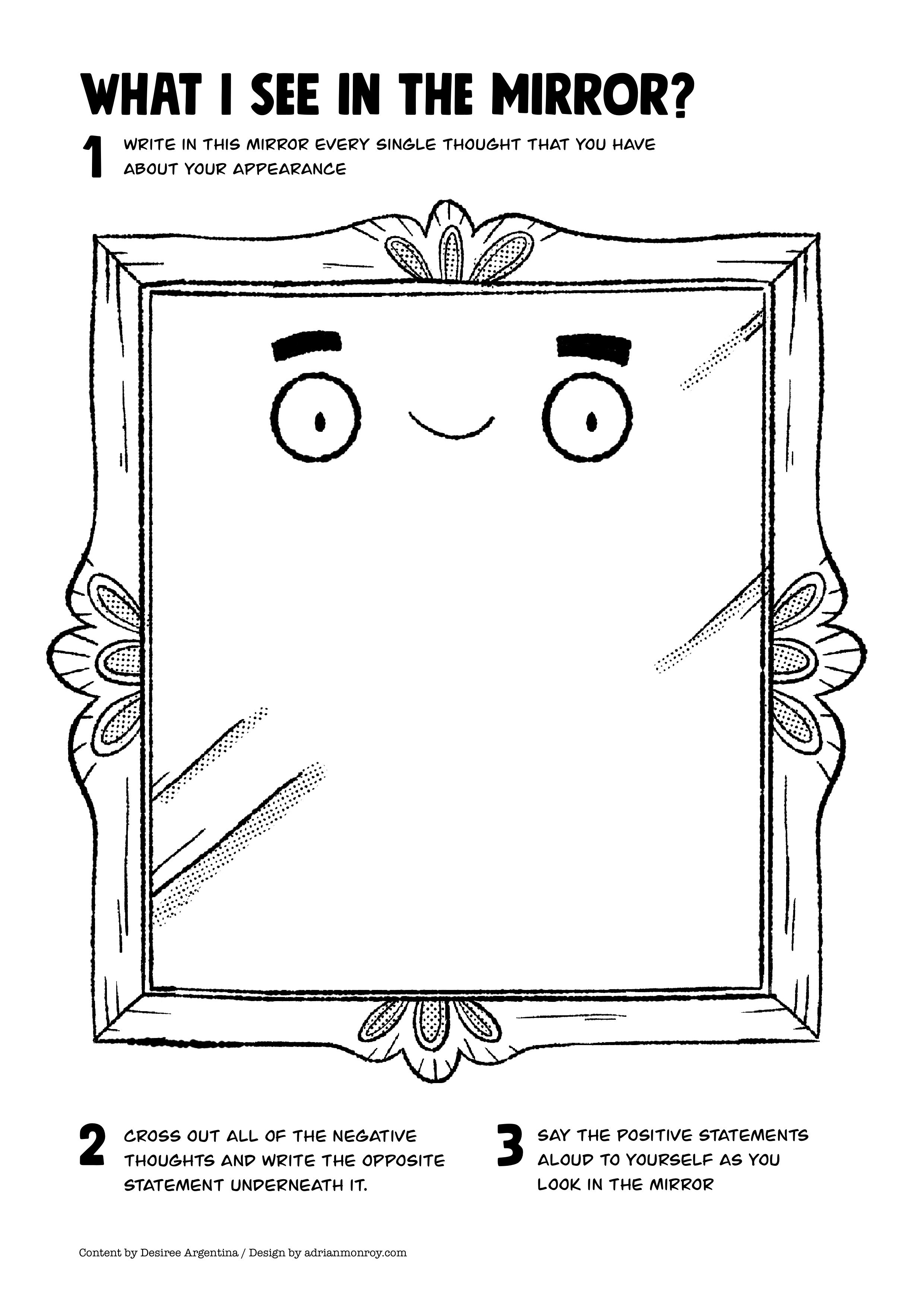 Printable Self Esteem Worksheets Mirror Self Esteem Worksheet for Kids and Teens Accordingtodes