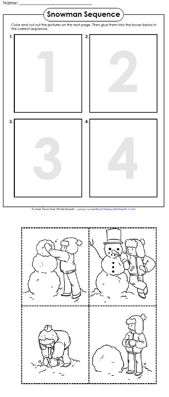 Printable Sequence Worksheets A Printable Worksheet for Winter