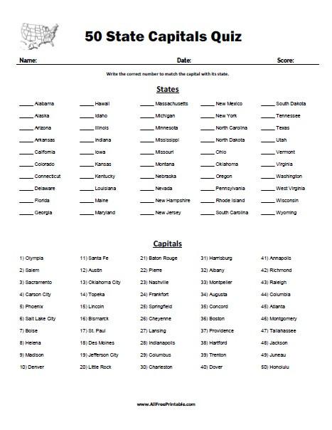 Printable State Capitals Quiz 50 State Capitals Quiz Free Printable Allfreeprintable