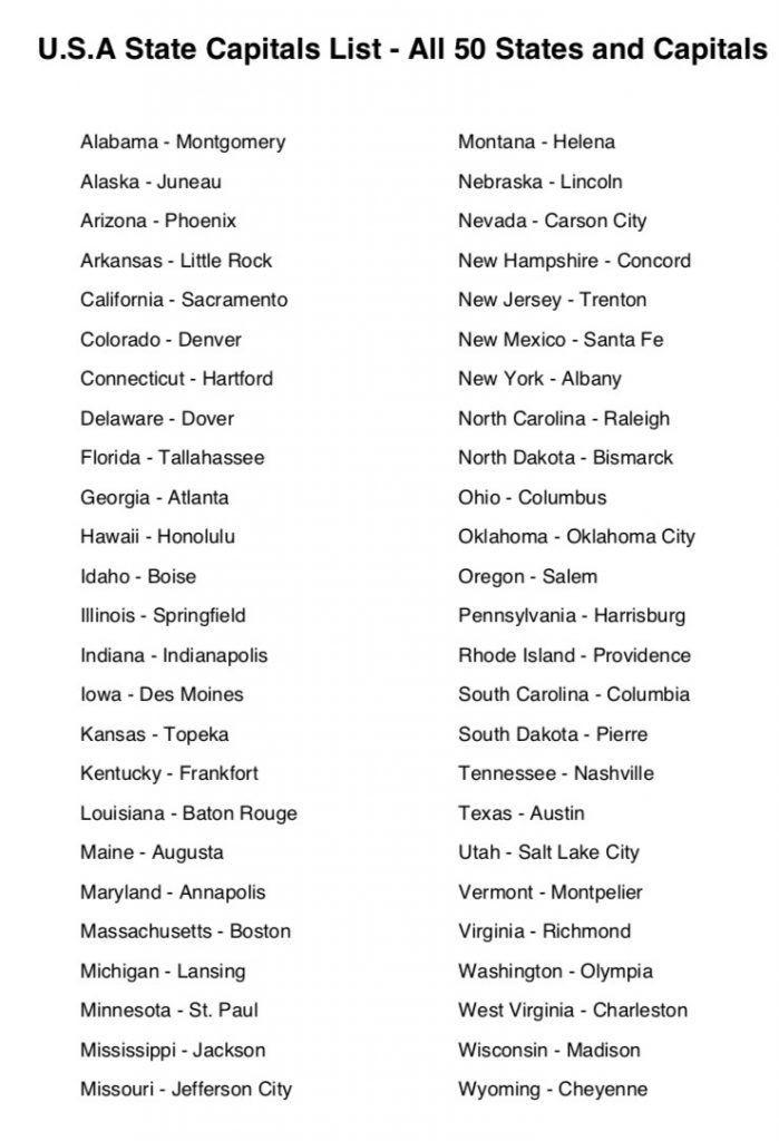 Printable State Capitals Quiz State Capitals List U S A