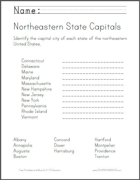 Printable States and Capitals Quiz northeastern States Map Quiz Printout Answers States and