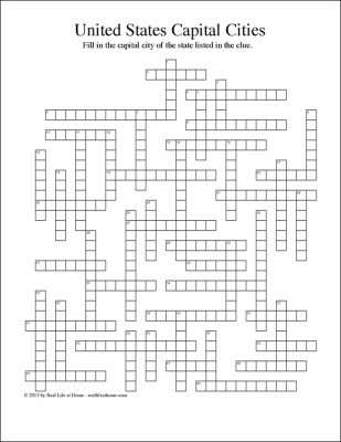 Printable States and Capitals Quiz United States State Capitals Crossword Puzzle Free Printable