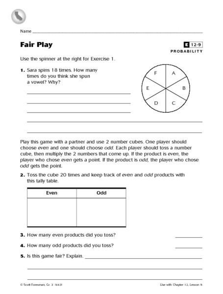 Probability Worksheet 4th Grade Fair Play Probability Worksheet Worksheet for 4th Grade